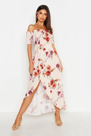 Cream Floral Off The Shoulder Maxi Dress
