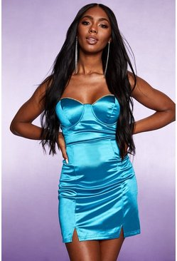 Womens Turquoise Diamante Trim Bandeau Satin Mini Dress