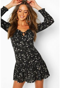 Womens Black Peasant Style Ditsy Floral Mini Dress