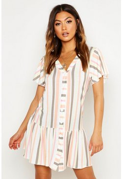 Womens Multi Stripe V Neck Frill Hem Shift Dress