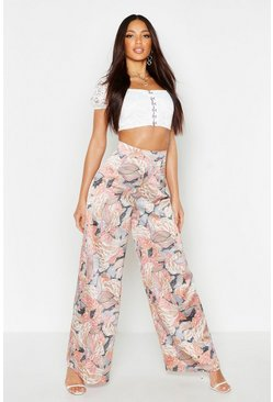 Womens Rose Tie Waist Wide Leg Trouser