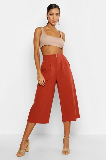 Womens Terracotta Linen Look Button Front Pleated Culotte