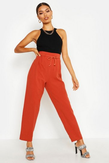 Womens Terracotta Tie Waist Paperbag Linen Look Trousers