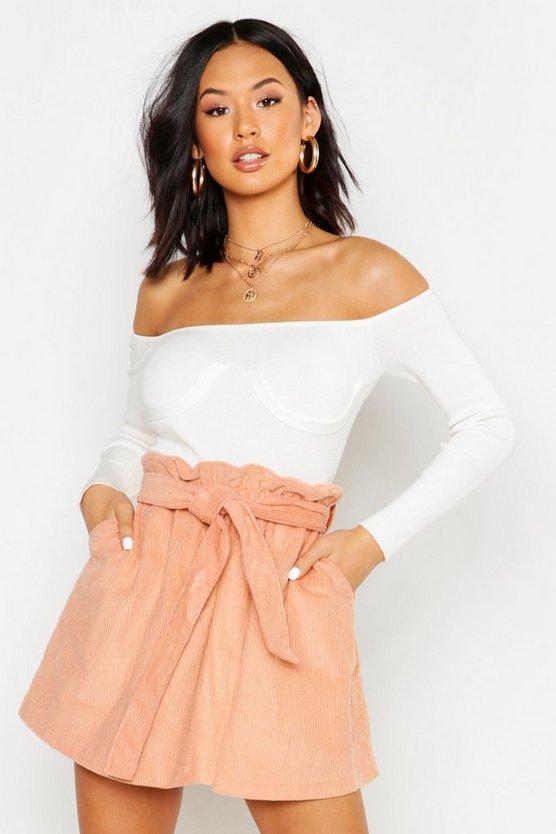 Baby Cord A Line Mini Skirt
