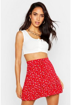 Womens Red Ditsy Floral Jersey Tiered Skirt