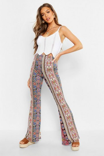 Womens Black Bohemian Stripe Flares