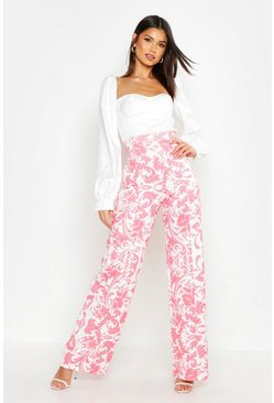 Womens Coral Porcelain Wide Leg Trousers