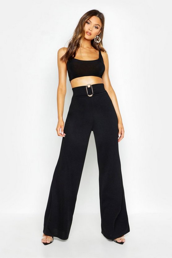 Womens Black Buckle Detail Crepe Wide Leg Trousers