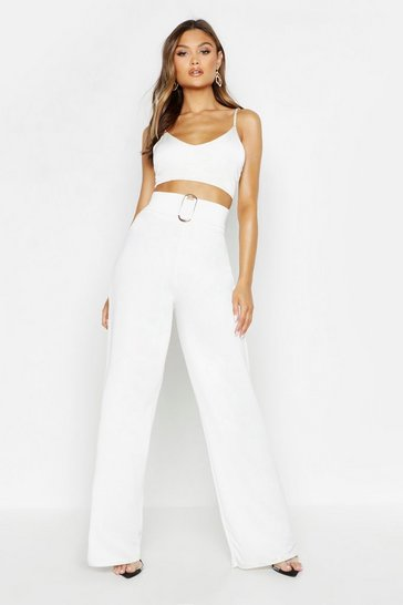 Ivory Buckle Detail Crepe Wide Leg Trousers