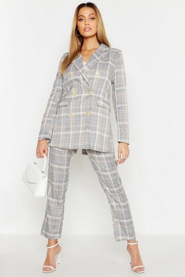 Womens Beige Check Double Breasted Blazer
