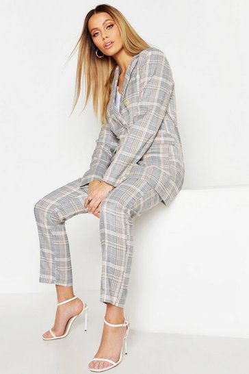 Womens Beige Check Tailored Trouser