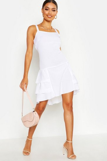 Womens White Dipped Hem Ruffle Mini Dress