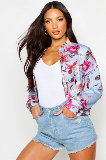 Womens Blue Oriental Floral Print Bomber Jacket