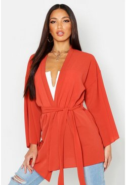 Womens Rust Belted Crepe Kimono