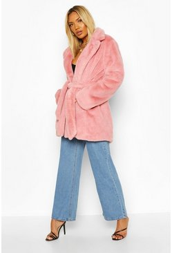 Womens Dusky pink Belted Faux Fur Coat