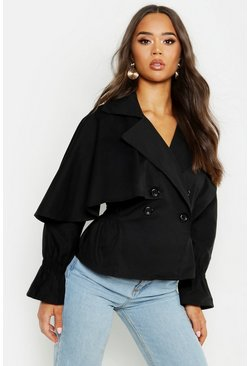 Womens Black Cotton Cropped Ruched Waist Trench Jacket