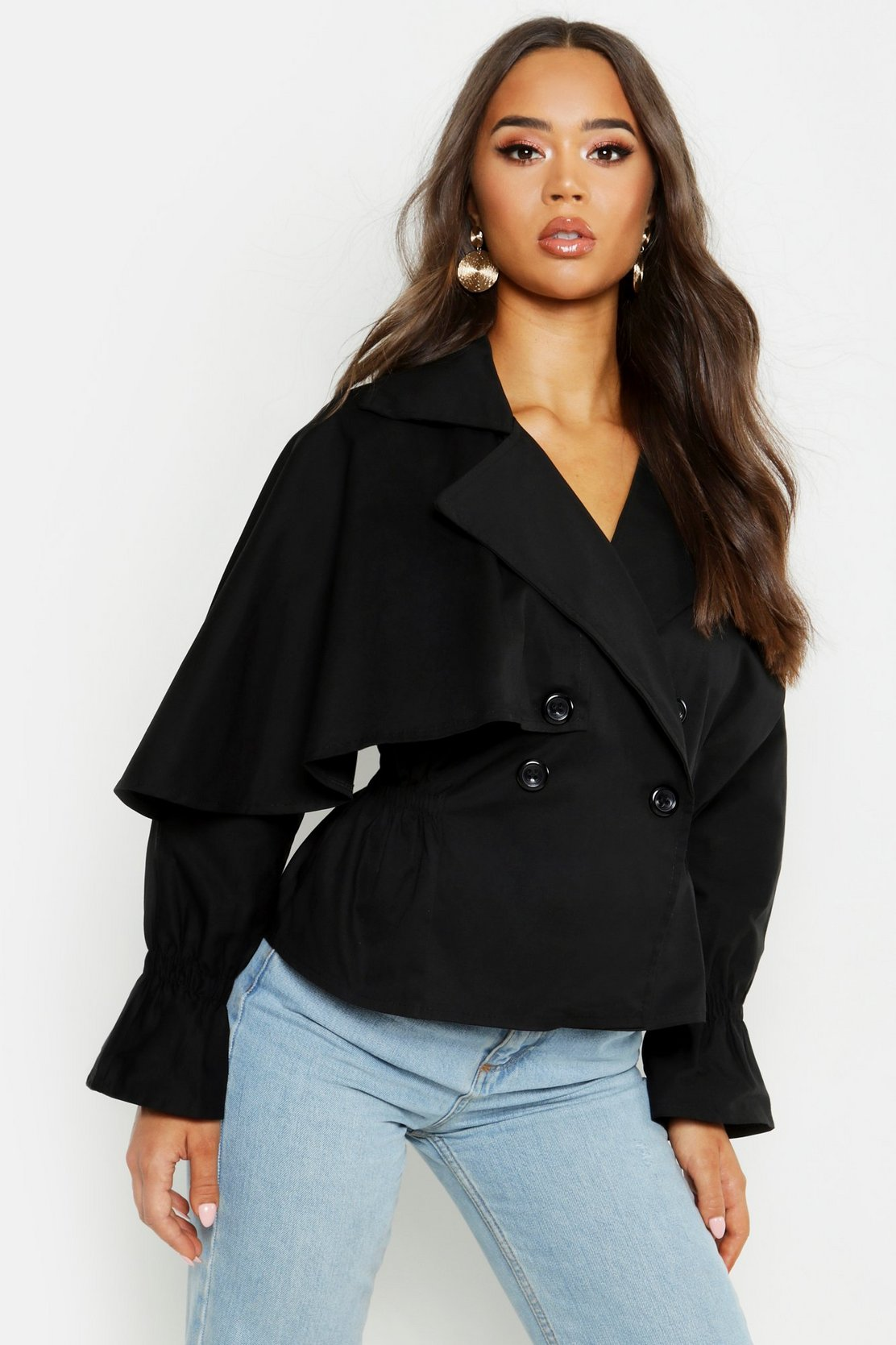 Cotton Cropped Ruched Waist Trench Jacket by Boohoo