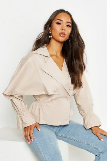 Womens Stone Cotton Cropped Ruched Waist Trench Jacket