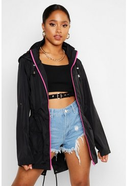 Womens Black Neon Zip Festival Mac