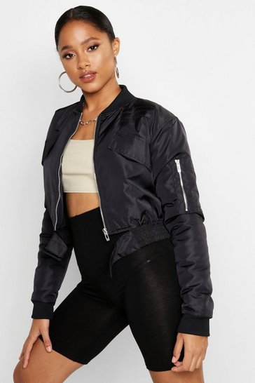 Womens Black Belt Detail Bomber Jacket