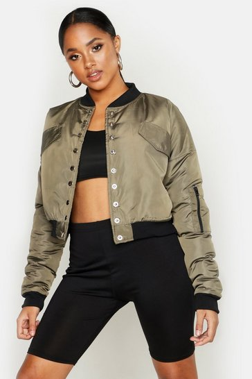 Womens Khaki Popper Detail Bomber Jacket