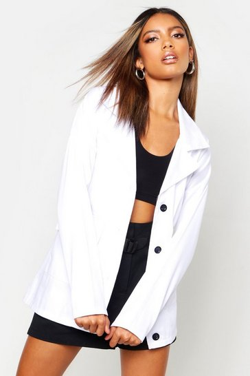Womens White Double Pocket Belted Jacket