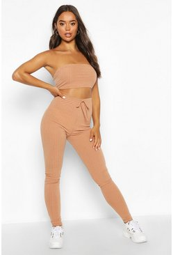 Womens Stone Rib Knit Bandeau Crop & Jogger Set