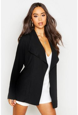 Womens Black Linen Look Waterfall Belted Jacket