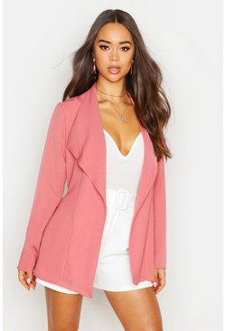 Womens Rose Linen Look Waterfall Belted Jacket