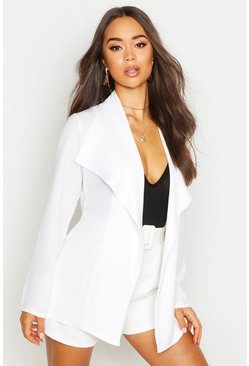 Dam White Linen Look Waterfall Belted Jacket