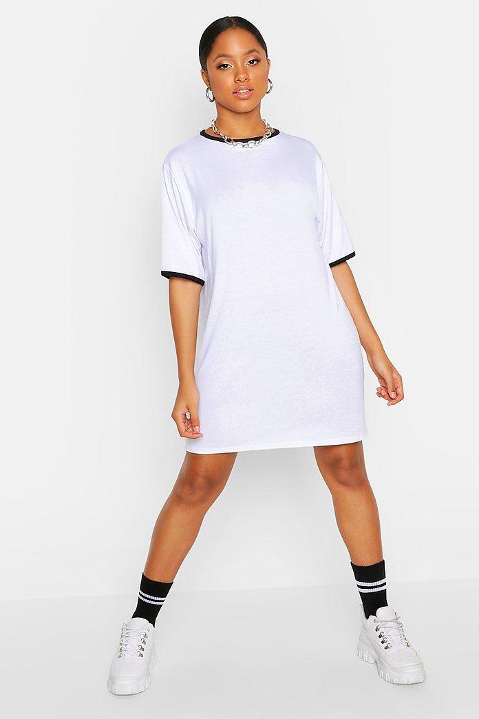 64b04359c0 Contrast Trim T-Shirt Dress   Boohoo
