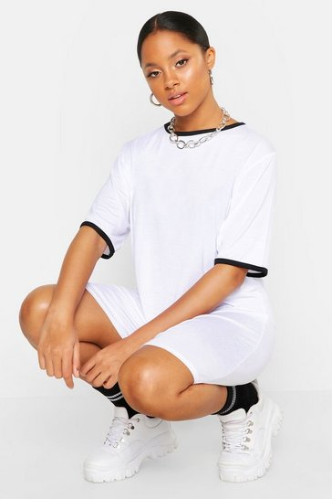 Womens White Contrast Trim T-Shirt Dress