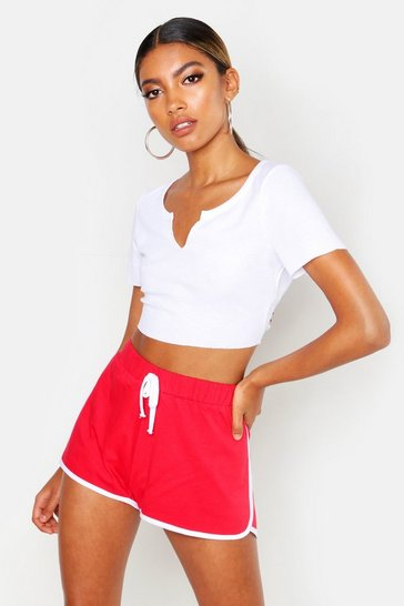 Womens Red Contrast Trim Running Shorts