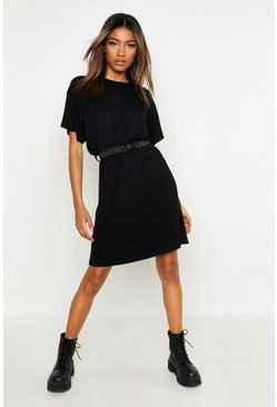 Womens Black Belted T-Shirt Dress