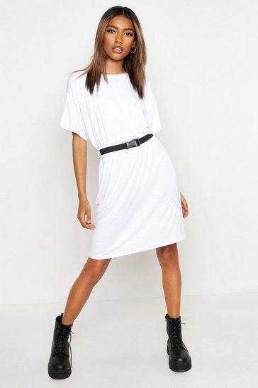 Womens White Belted T-Shirt Dress