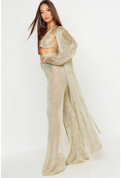 Womens Gold Metallic Knit Long Line Cardigan