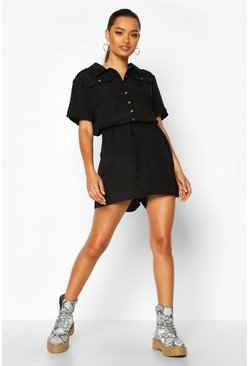 Black Utility Pocket Detail Playsuit