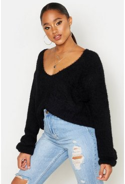 Womens Black Soft Touch V Neck Jumper