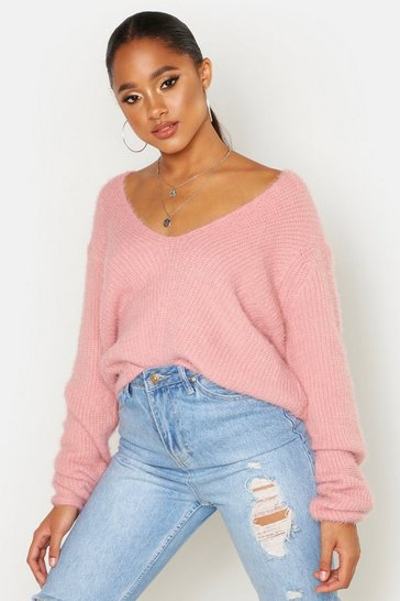 Blush Soft Touch V Neck Jumper