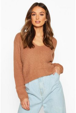 Toffee Soft Touch V Neck Jumper