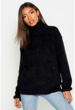 Womens Black Soft Knit Roll Neck Jumper