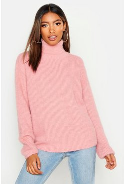 Womens Blush Soft Knit Roll Neck Jumper