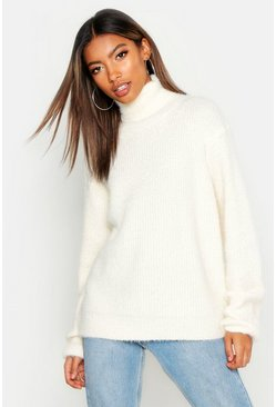 Cream Soft Knit Roll Neck Sweater