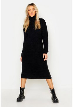 Womens Black Soft Knit Roll Neck Midi Jumper Dress