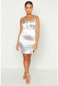 Silver Square Neck Reflective Panel Mini Dress