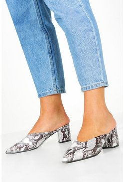 Grey Pointed Block Heel Mules