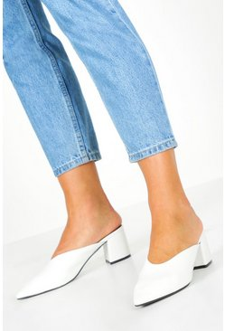 Womens White Pointed Block Heel Mules