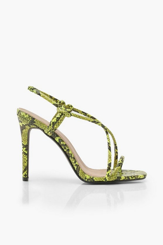 Lime Snake Strappy Heel Sandals
