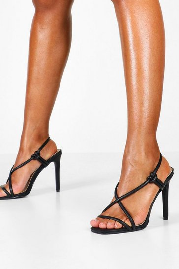 Womens Black Asymmetric Strappy Heel Sandals