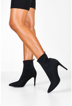 Black Pointed Stiletto Sock Boots